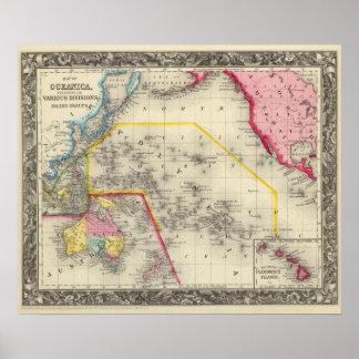 Karte von Oceanica Poster