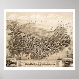 Karte von Ostboston, Massachusetts im Jahre 1879 Poster