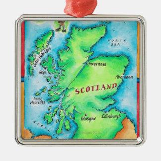 Karte von Schottland Quadratisches Silberfarbenes Ornament