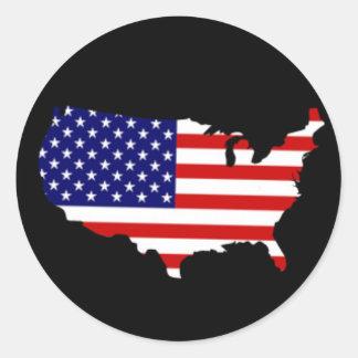 Karte von USA mit US Flagge Runder Aufkleber