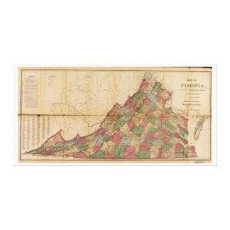 Karte von Virginia (1871) Galerie Falt Leinwand
