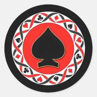 Karten-Anzugs-Poker-Chip Runder Sticker