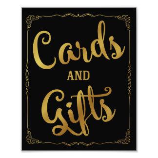 Karten und Geschenk-Partyhochzeitszeichengold Fotodruck