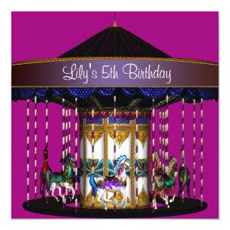 Karussell-Mädchen-5. Geburtstags-Party Quadratische 13,3 Cm Einladungskarte