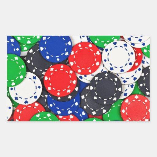Kasino-Pokerchips Rechrteckaufkleber
