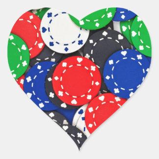 Kasino-Pokerchips Herz-Aufkleber