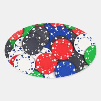 Kasino-Pokerchips Ovaler Aufkleber
