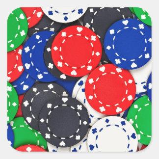 Kasino-Pokerchips Quadrat-Aufkleber