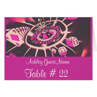 Kasino-spielendes Thema-Tischnummer-Gast-Namenzelt Karte