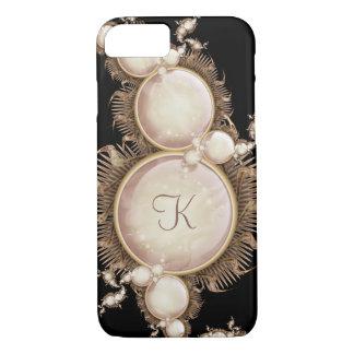 Kaskade der Perlen auf schwarzem Monogramm iPhone 8/7 Hülle
