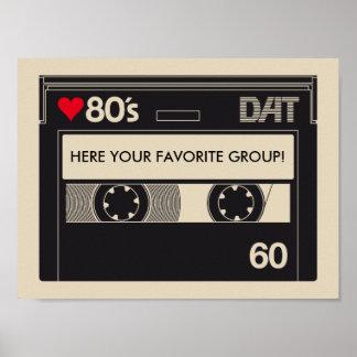 Kassette I Love 1980s Music Poster