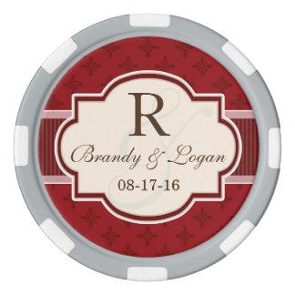 Kastanienbraune und rote Retro Hochzeit Poker Chips