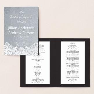Katholische Hochzeits-Programm-Damast-Schablone Folienkarte
