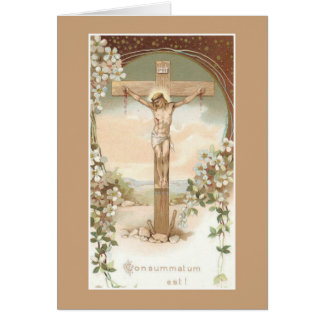 Katholische Massen-anbietenkarte mit Kruzifix Karte