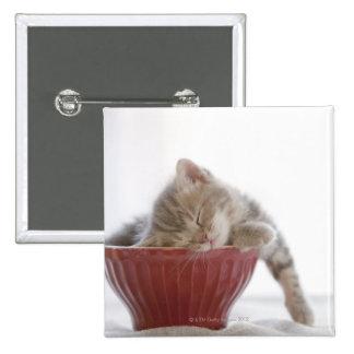 Kätzchen, das in der Schüssel schläft Quadratischer Button 5,1 Cm