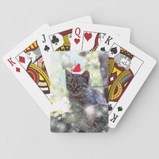 Kätzchen-Foto-Weihnachtszeit klassische Spielkarten