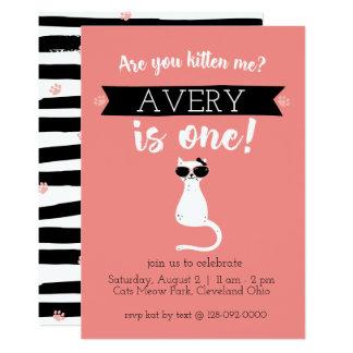 Kätzchen ich erste Geburtstags-Einladung Karte