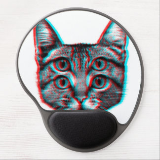 Katze 3d, 3d Katze, Schwarzweiss-Katze Gel Mousepad
