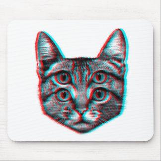 Katze 3d, 3d Katze, Schwarzweiss-Katze Mousepad
