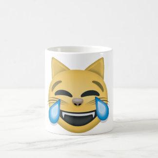 Katze, die stark schreiende Emoji Tasse lacht