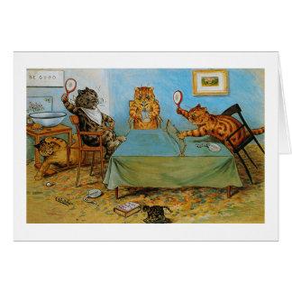 Katze, die Tischtennis, Louis Wain spielt Karte