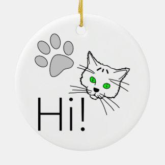 Katze - hallo! keramik ornament
