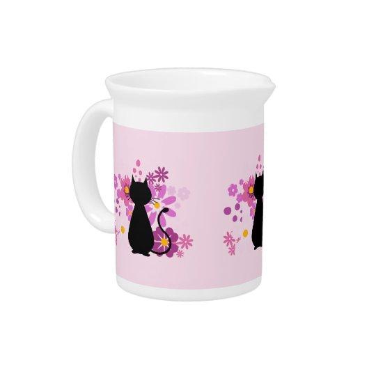 Katze im rosa Blumen-Krug/dem Krug