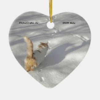 Katze im Schnee Keramik Ornament