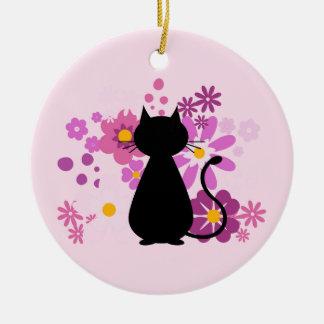Katze in der rosa Blumen-Kreis-Verzierung Rundes Keramik Ornament