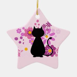 Katze in der rosa Blumen-Stern-Verzierung Keramik Ornament