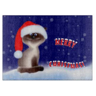 Katze in der Weihnachtsmannmütze Schneidebrett