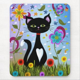 Katze in einer Garten-abstrakten Kunst Mousepads