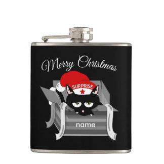 Katze in Kasten frohen Weihnachten Flachmann