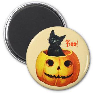 Katze in Kürbis-Vintagem Halloween-Magneten Runder Magnet 5,1 Cm