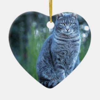 Katze Keramik Herz-Ornament