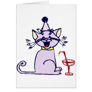 Katze mit Cocktail Karte