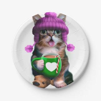 Katze mit der Tasse - KatzenKaffeetasse - Pappteller