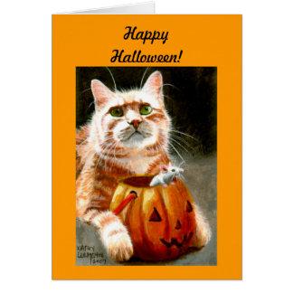 Katze mit Maus im Kürbis glückliches Halloween! Mitteilungskarte