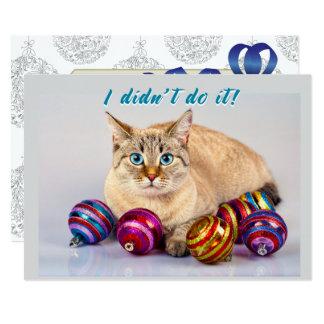 Katze mit Weihnachtsball-doppelseitiger 12,7 X 17,8 Cm Einladungskarte