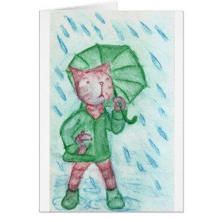 Katze und Maus im Regen Mitteilungskarte