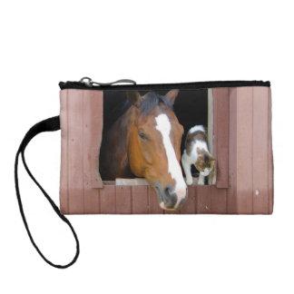 Katze und Pferd - Pferderanch - Pferdeliebhaber Münzbeutel