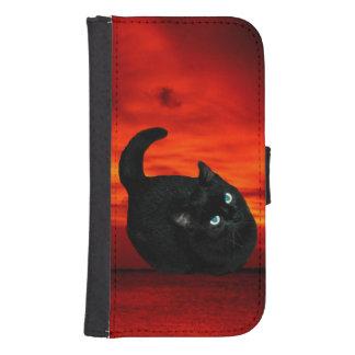 Katze und roter Himmel Galaxy S4 Geldbeutel Hülle