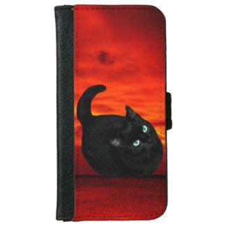 Katze und roter Himmel Geldbeutel Hülle Für Das iPhone 6/6s