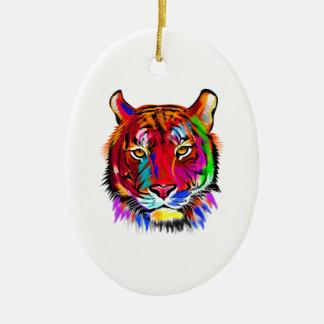Katze vieler Farben Ovales Keramik Ornament