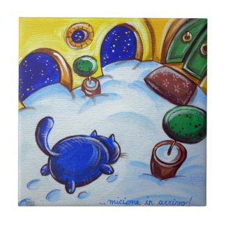 Katzen-Abdrücke im Schnee Kleine Quadratische Fliese