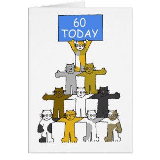 Katzen, die 60. Geburtstage feiern Karte