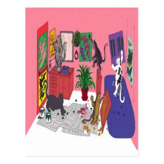 Katzen, die malen, humorvolle Kunst des Postkarte