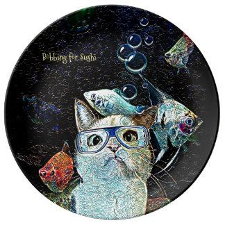 Katzen-Fisch-Sushi-Spaß-lustige Porzellanteller