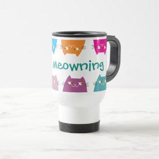 Katzen-helles Neon färbt gutes Meowning niedliches Reisebecher