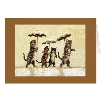 Katzen im Schnee mit Regenschirm-Anmerkungs-Karte Karte